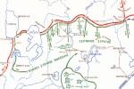 Μέτωπο δυτικής Μακεδονίας, Δεκέμβριος 1916. Η διάταξη των γαλλικών και σερβικών δυνάμεων (πράσινο) απέναντι στην 11η γερμανική στρατιά (κόκκινο). [από: <emΠρώτος Παγκόσμιος Πόλεμος</em>].